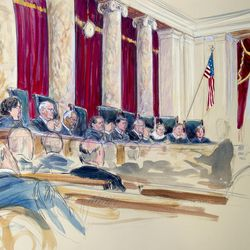 This artist rendering shows the Supreme Court Justices during the hearing on same-sex marriage in Washington, Tuesday, April 28, 2015. Justices, from left are, Sonia Sotomayor, Stephen Breyer, Clarence Thomas, Antonin Scalia, Chief Justice John Roberts, Anthony Kennedy, Ruth Bader Ginsburg, Samuel Alito Jr., and Elena Kagan.