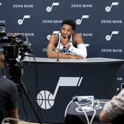 Utah Jazz guard Donovan Mitchell (45) talks during the Utah Jazz media media day at Vivint Arena in Salt Lake City on Monday, Sept. 27, 2021.