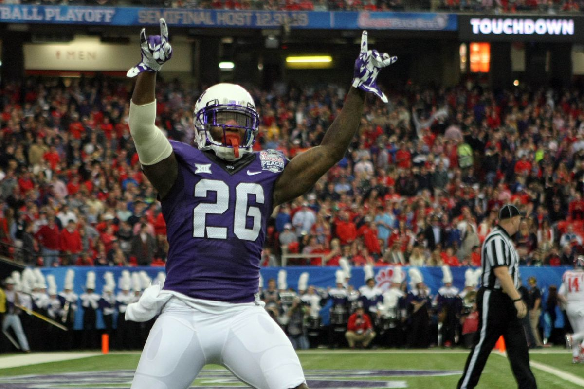 Kindred celebrates after James McFarland's pick-six in the second quarter of the 2014 Peach Bowl