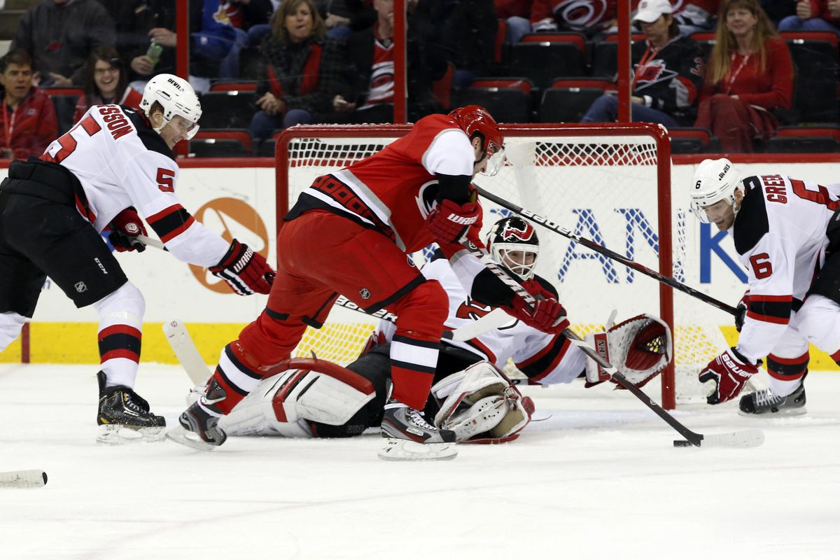 Martin Brodeur: Doing work, about to deny Jiri Tlusty in the middle, you know, standard work for him.