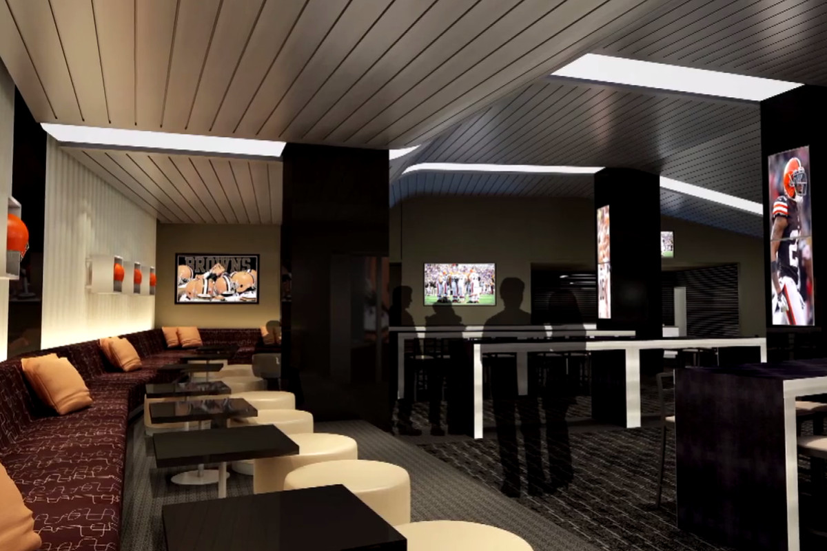 A rendering of the field-level hospitality area the Browns are creating, similar to what the Dallas Cowboys have.