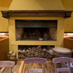 Fireplace in the main dining room.