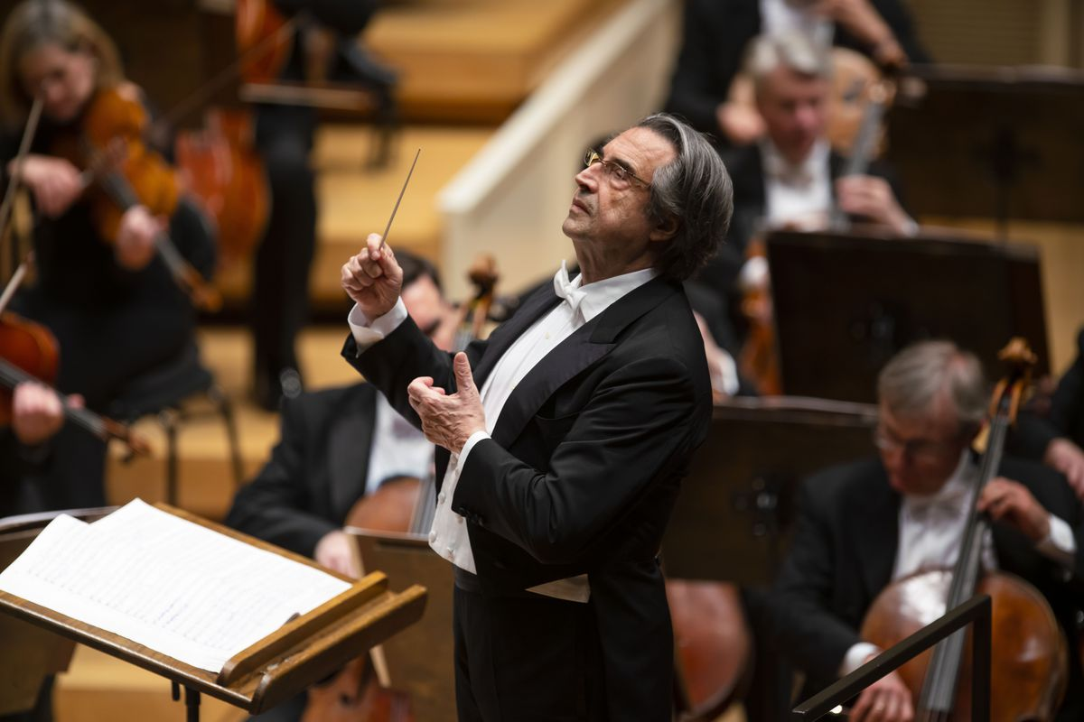 Maestro Riccardo Muti on the podium during the Chicago Symphony Orchestra May 9 program of works by Mozart and Stravinsky. | Copyright Todd Rosenberg Photography