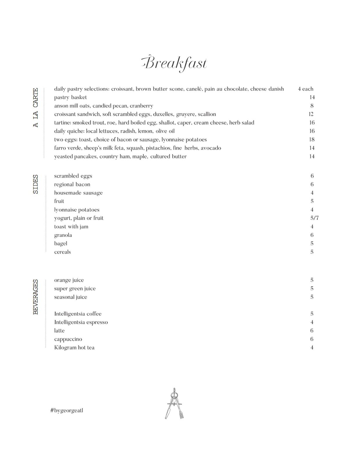 Breakfast menu for By George at the Candler Hotel in Atlanta