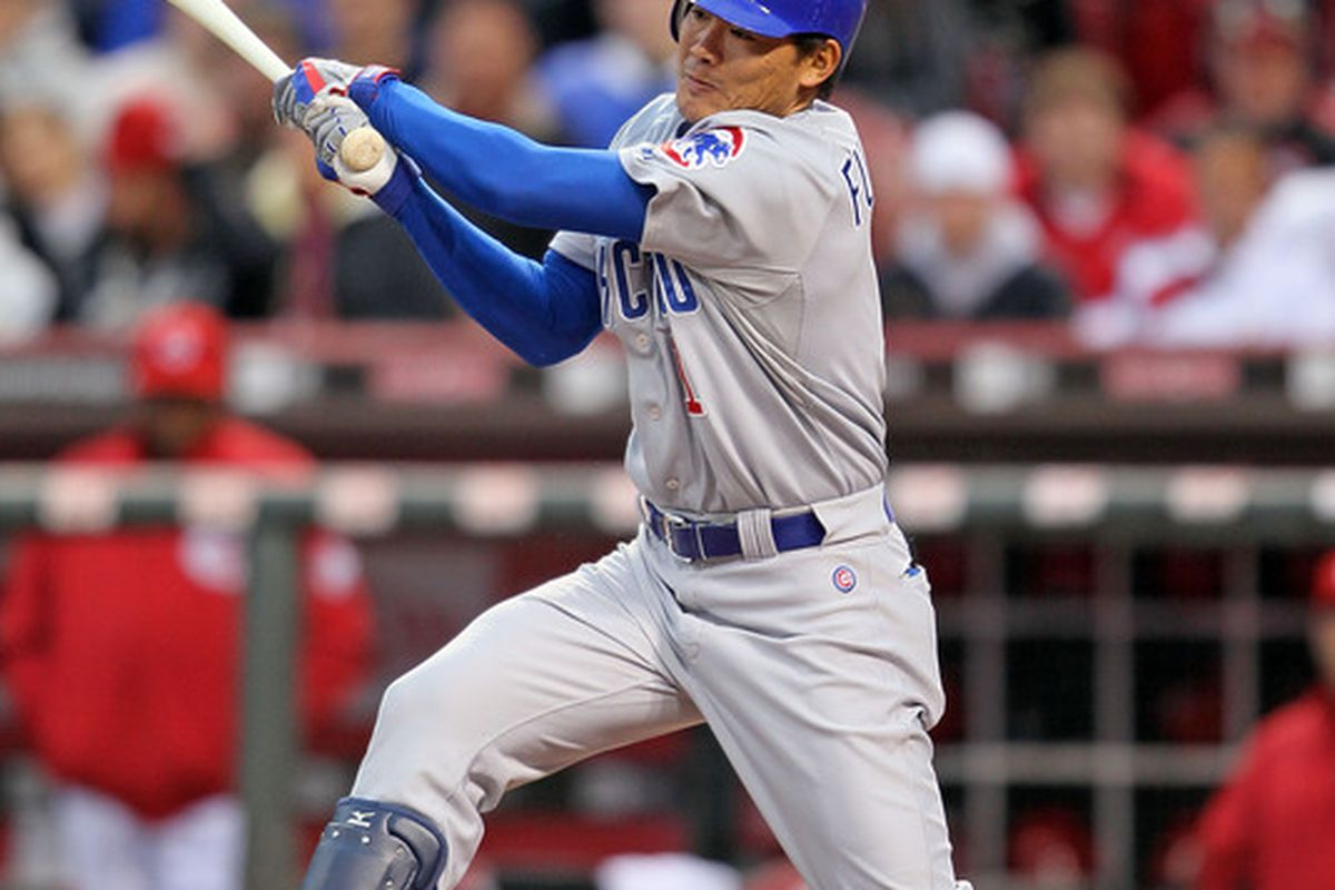CINCINNATI - MAY 08:  Kosuke Fukudome #1 of the Chicago Cubs hits a single during the game against the Cincinnati Reds at Great American Ball Park on May 8, 2010 in Cincinnati, Ohio.  (Photo by Andy Lyons/Getty Images)