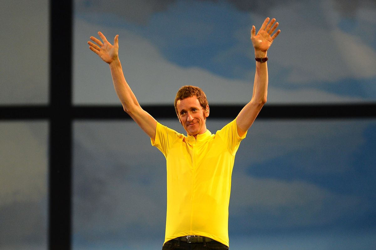 """""""We all know what has been happening with the tickets at the Olympics.  It's a bit of a prawn sandwich fest.""""  Bradley Wiggins really said that, while visiting with fans who didn't HAVE tickets.  (Photo by Lars Baron/Getty Images)"""
