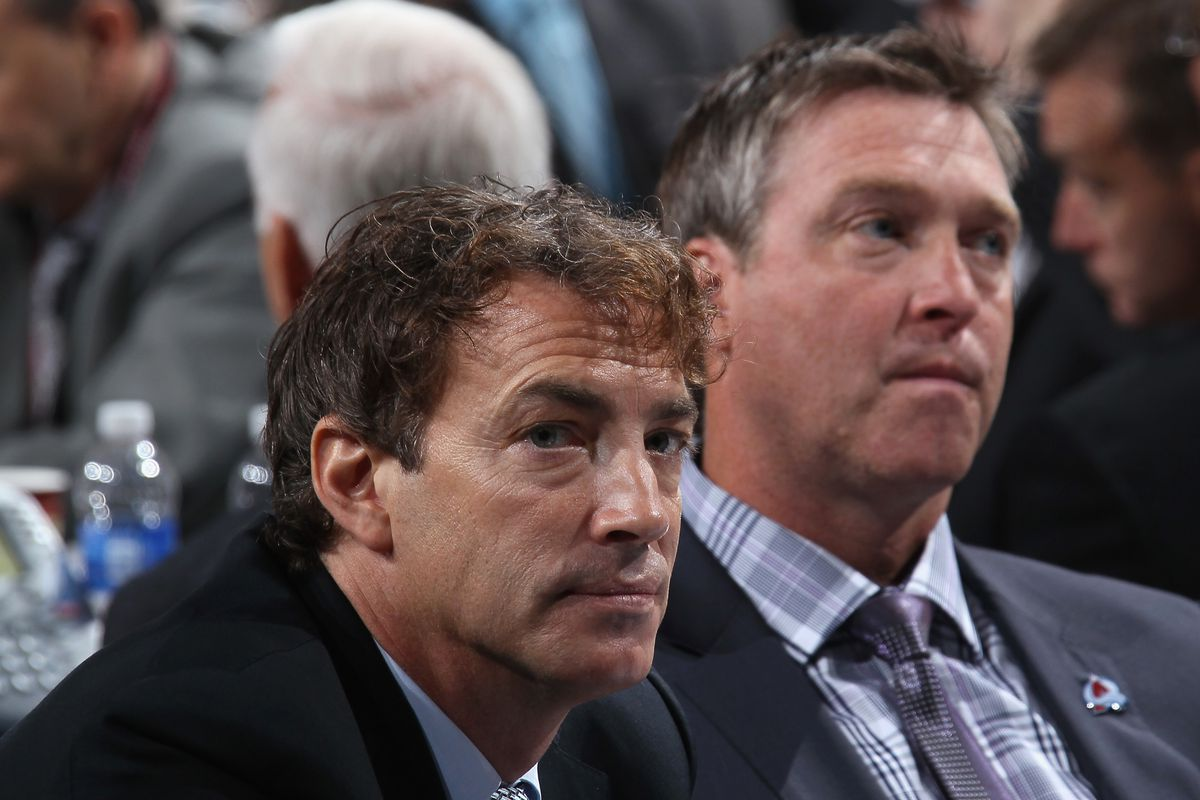 Joe Sakic and Patrick Roy wondering why their salary cap is so many millions fewer the league's.
