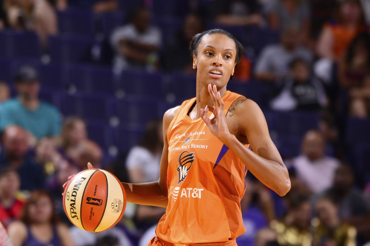 DeWanna Bonner of the Phoenix Mercury handles the ball during the game against the Las Vegas Aces on September 8, 2019 at the Talking Stick Resort Arena, in Phoenix, Arizona.
