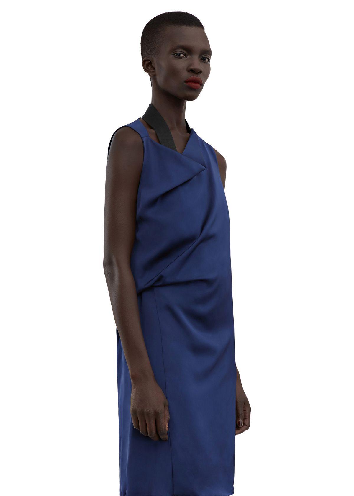 A blue satin dress
