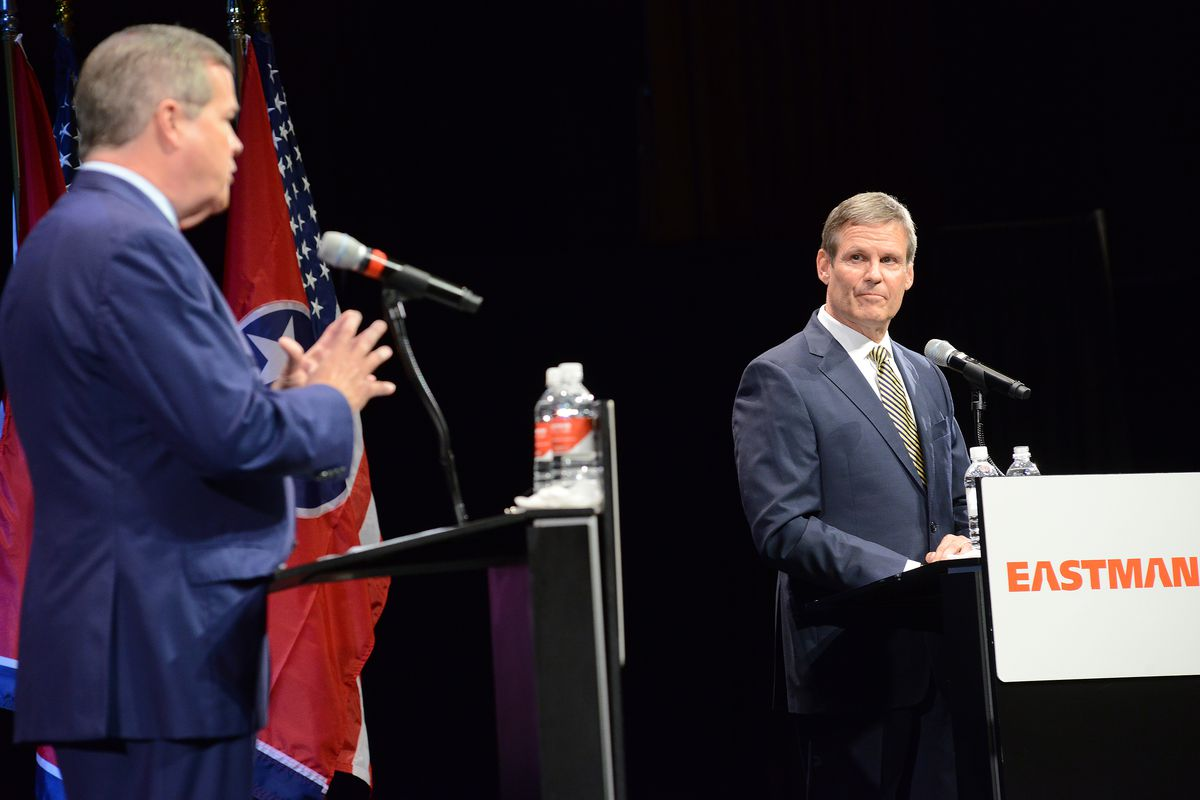Democrat Karl Dean makes his point as Republican Bill Lee listens during their Oct. 9 gubernatorial debate in Kingsport. The candidates' third and final debate will be on Oct. 12 in Nashville.