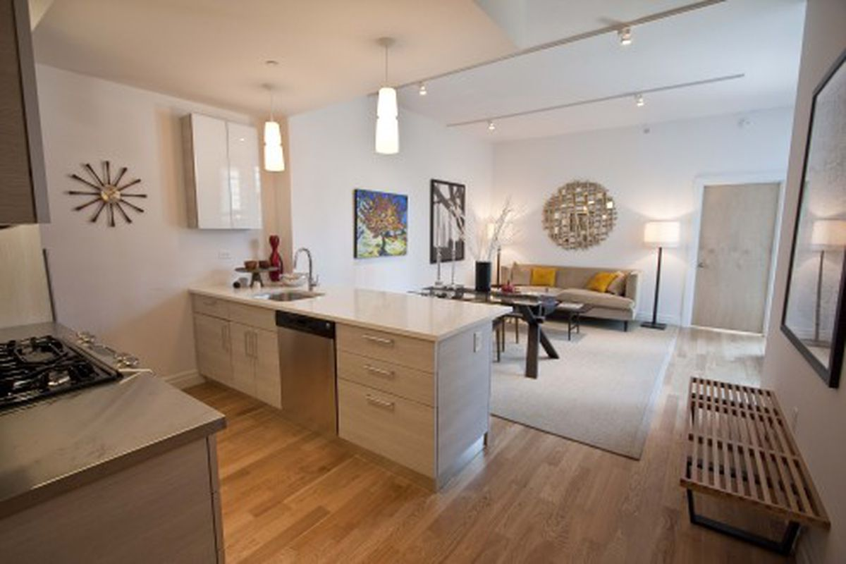 A 2BR unit, with lots of space in the kitchen.