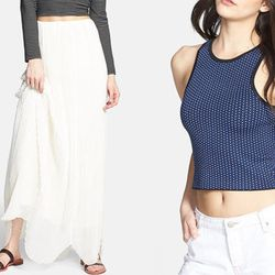 """<strong>Rules of Etiquette</strong> 'Olivia' Pleated Maxi Skirt, <a href=""""http://shop.nordstrom.com/S/rules-of-etiquette-olivia-pleated-maxi-skirt/3710366"""">$68</a>, and <strong>Leith</strong> Crop Sweater Tank, <a href=""""http://shop.nordstrom.com/s/leith-c"""