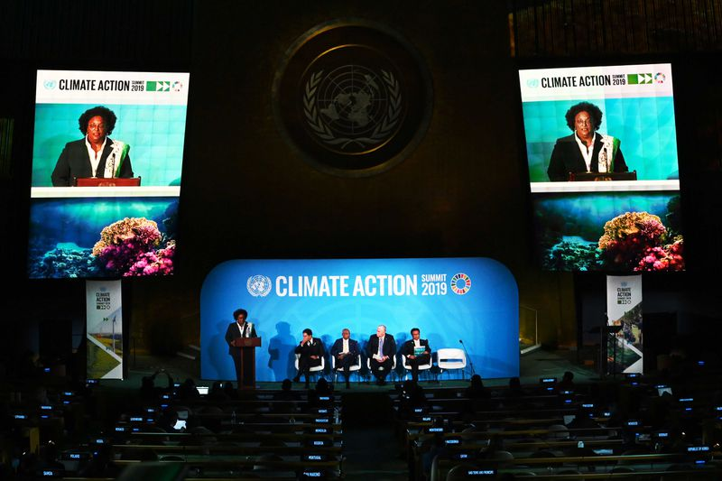 Barbados Prime Minister Mia Mottley speaking onstage at the UN Climate Action Summit.