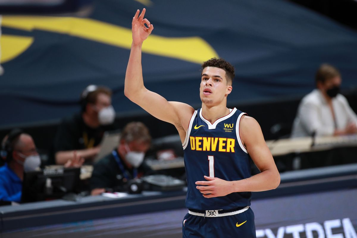 Michael Porter Jr. #1 of the Denver Nuggets reacts to a made shot against the Toronto Raptors at Ball Arena on April 29, 2021 in Denver, Colorado.
