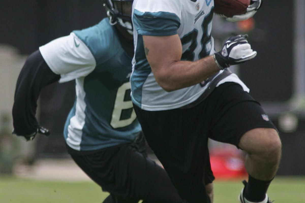 June 12, 2012; Jacksonville FL, USA; Jacksonville Jaguars tight end Zach Miller (86) runs with the ball during minicamp at Florida Blue Health & Wellness Practice Fields. Mandatory Credit: Phil Sears-US PRESSWIRE