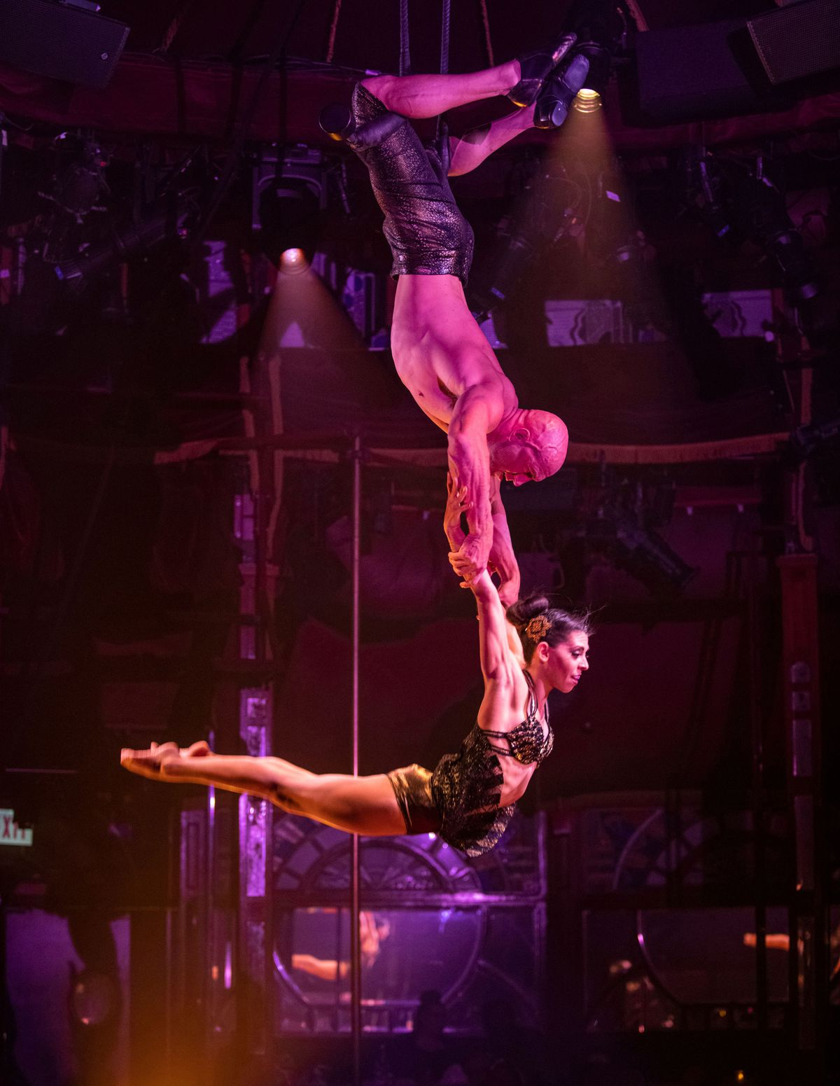 Teatro ZinZanni's Duo 19 features aerialists Cassie Cutler and Oliver Parkinson.