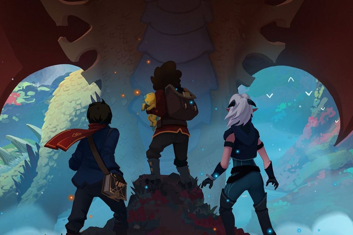 The Dragon Prince - three characters looking up at a dragon flying over them