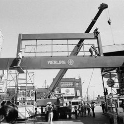 The Chinatown gateway under construction in 1984.   Sun-Times Archives.