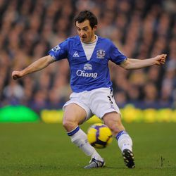 Leighton Baines of Everton on the ball during the Barclays Premier League match between Everton and Burnley at Goodison Park on December 28, 2009 in Liverpool, England.