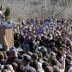 Democratic presidential candidate and Vermont Sen. Bernie Sanders gives a speech to supporters at This is the Place Heritage Park in Salt Lake City, Friday, March 18, 2016.