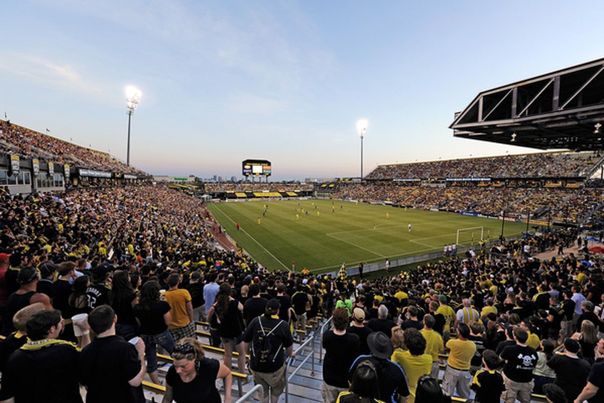 COLUMBUS, OH - MAY 29:  View of Columbus Crew Stadium as the Crew plays the Los Angeles Galaxy on May 29, 2010 at Crew Stadium in Columbus, Ohio.  (Photo by Jamie Sabau/Getty Images)