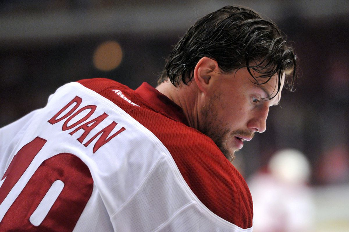 April 17, 2012; Chicago, IL, USA; Phoenix Coyotes right wing Shane Doan (19) before game three of the 2012 Western Conference quarterfinals against the Chicago Blackhawks at the United Center.  Mandatory Credit: Rob Grabowski-US PRESSWIRE