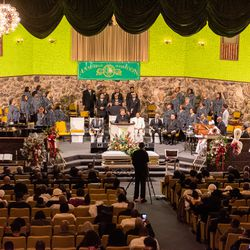 Mourners gather at Christian Tabernacle Church for the wake and funeral for Pastor Maceo L. Woods, Saturday, Jan. 18, 2020, in Chicago.