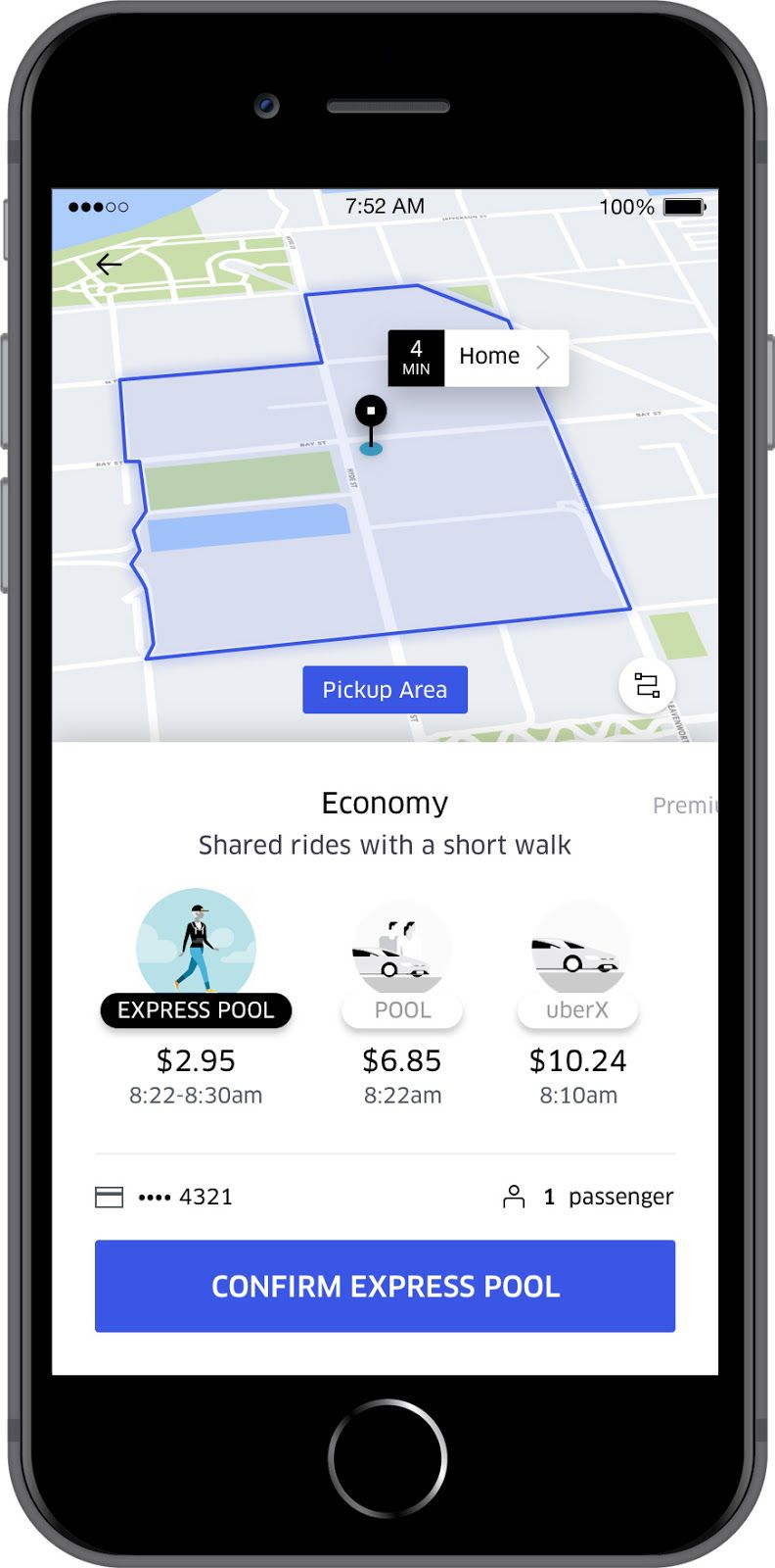 Uber Express Pool screenshot of the app