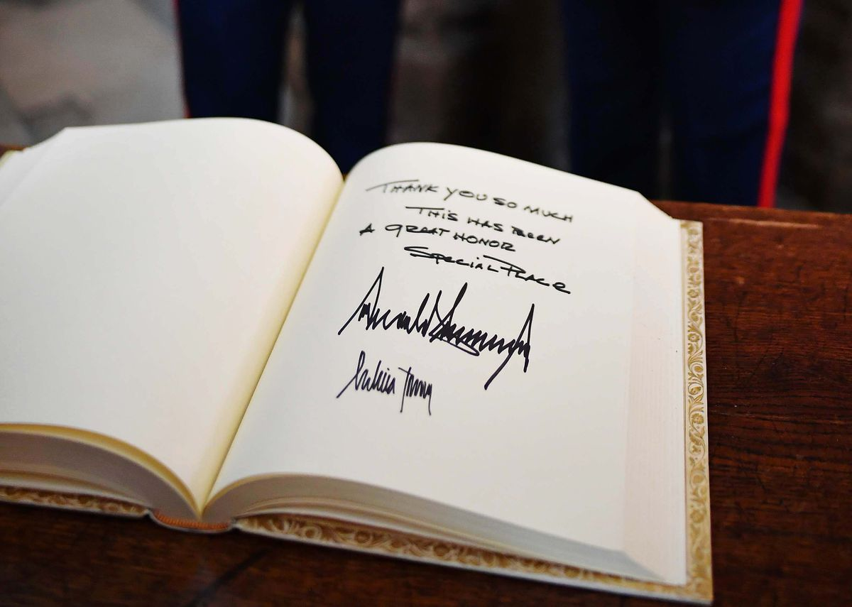 President Donald Trump's message and his signature along with that of First Lady Melania Trump in the Westminster Abbey visitors book on June 3, 2019, in London, England.
