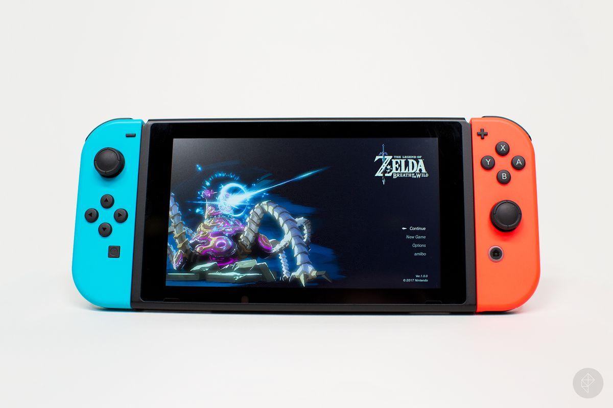 Nintendo Switch handheld with Zelda main menu