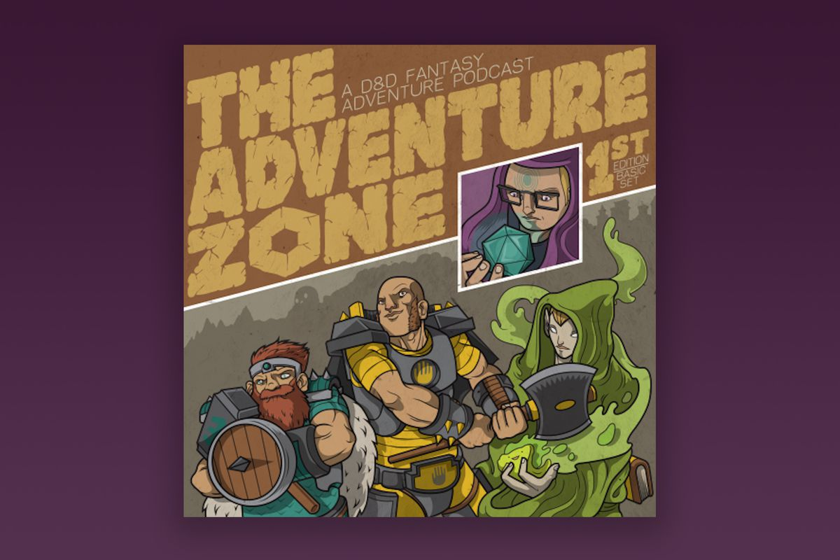 """An illustration of Griffin, Merle, Magnus, and Taako. The top third of the image says """"The Adventure Zone: A D&D fantasy adventure podcast"""". Between the title and the player characters is an Griffin in purple robes with blue circles on his forehead holding a d20. Below, Merle, Magnus, and Takao stand ready for battle. The illustration is on a dark to light purple gradient background."""