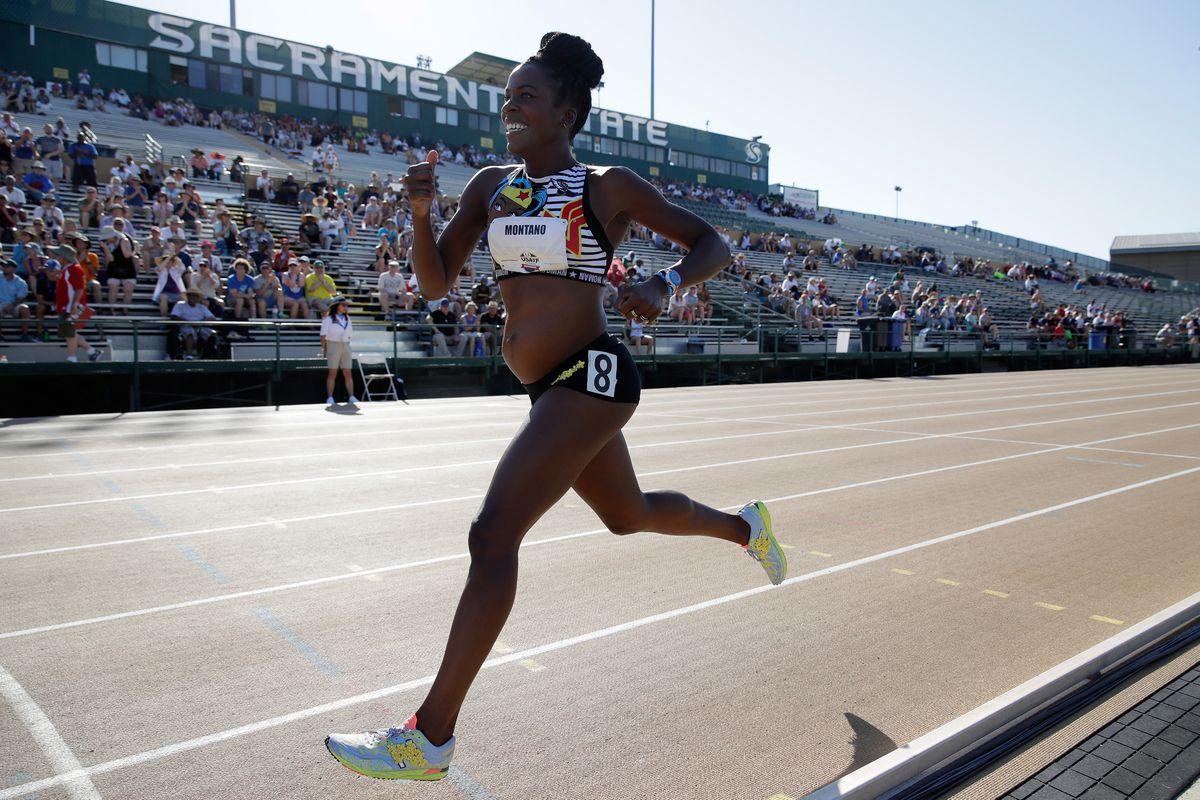 Alysia Montano running in the Women's 800 Meter.