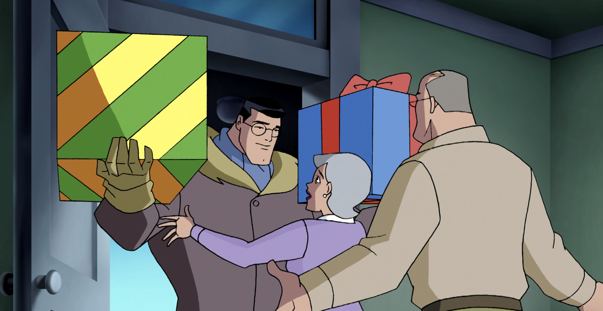 Clark Kent arrives home to the Kent family farm with two enormous wrapped presents held easily in his super-strong arms, in Justice League Unlimited.