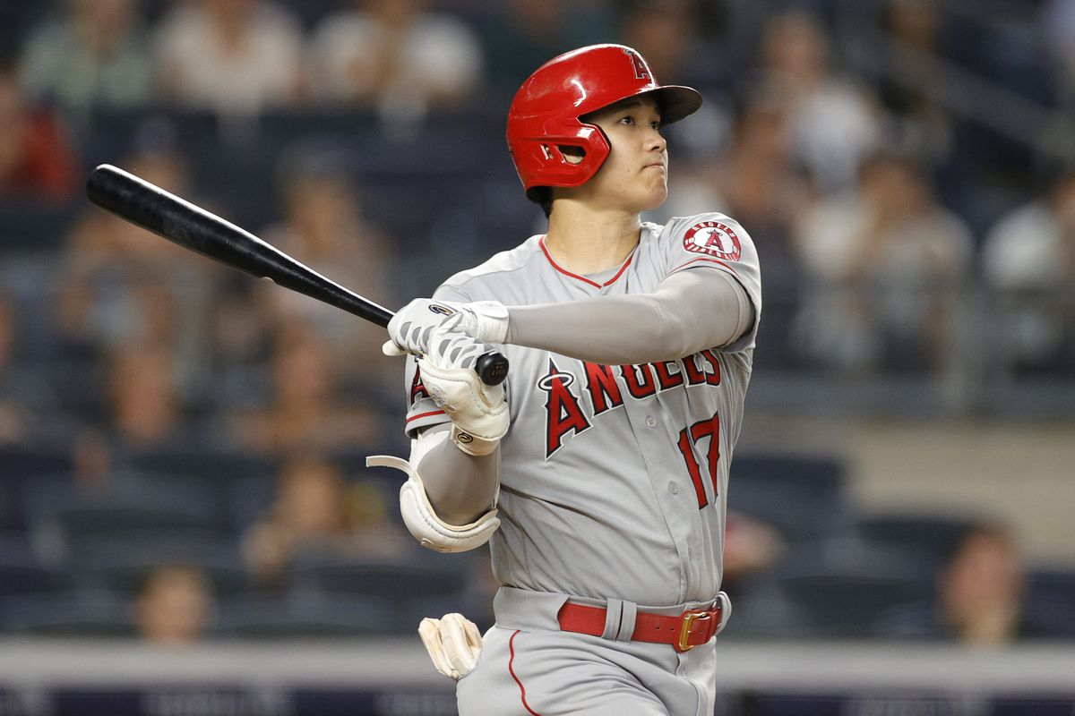 Shohei Ohtani of the Los Angeles Angels hits a two-run home run during the fifth inning against the New York Yankees at Yankee Stadium on June 29, 2021 in the Bronx borough of New York City.