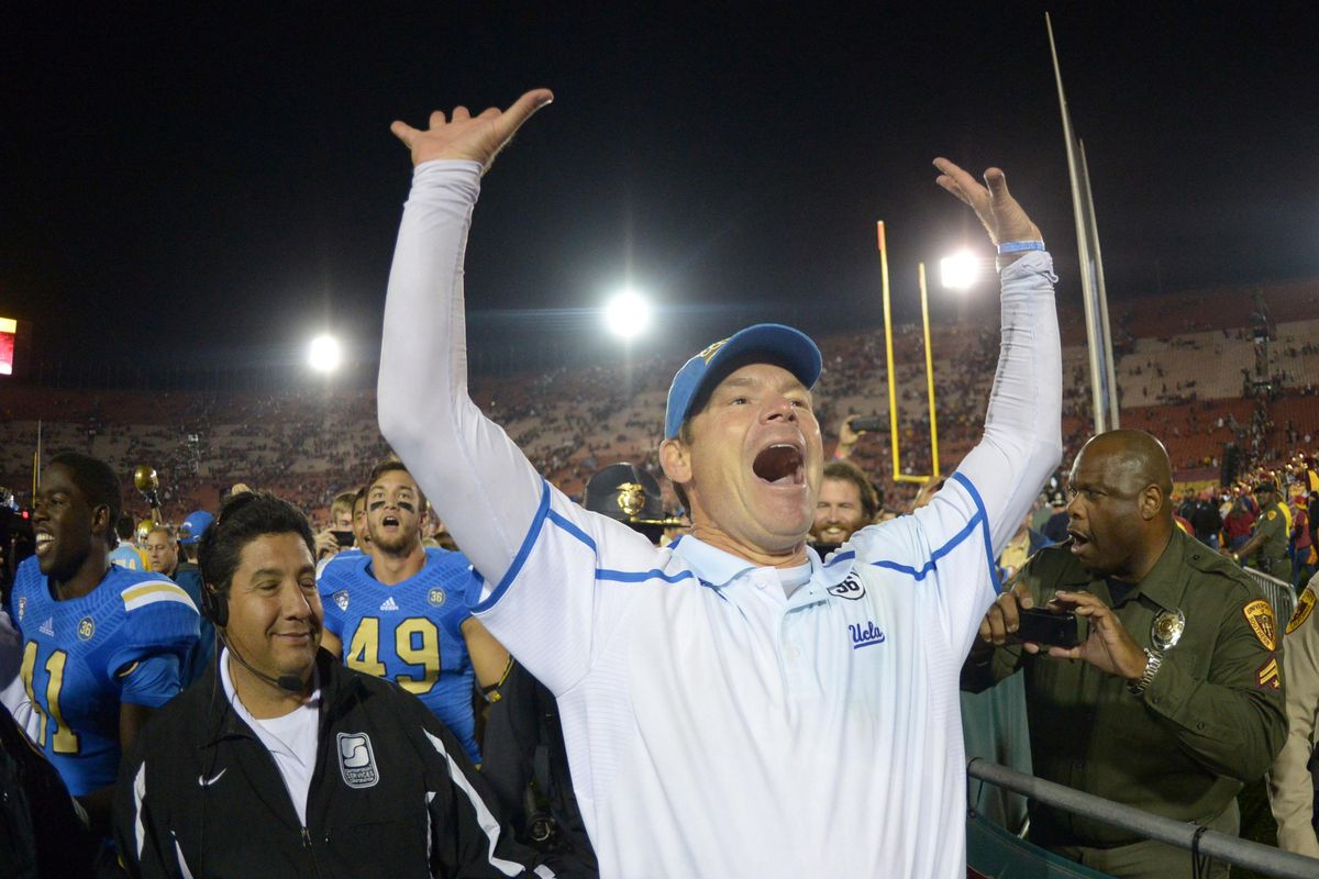 Coach Mora looks very happy to be a Bruin!