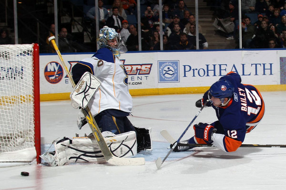 Ben Bishop stopping a shot. Good. He will face a lot of them in Binghamton. (Photo by Bruce Bennett/Getty Images)