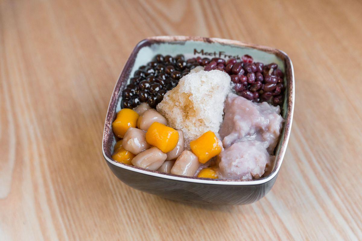 Taro ball No. 4 with taro, red beans, and boba at Meet Fresh