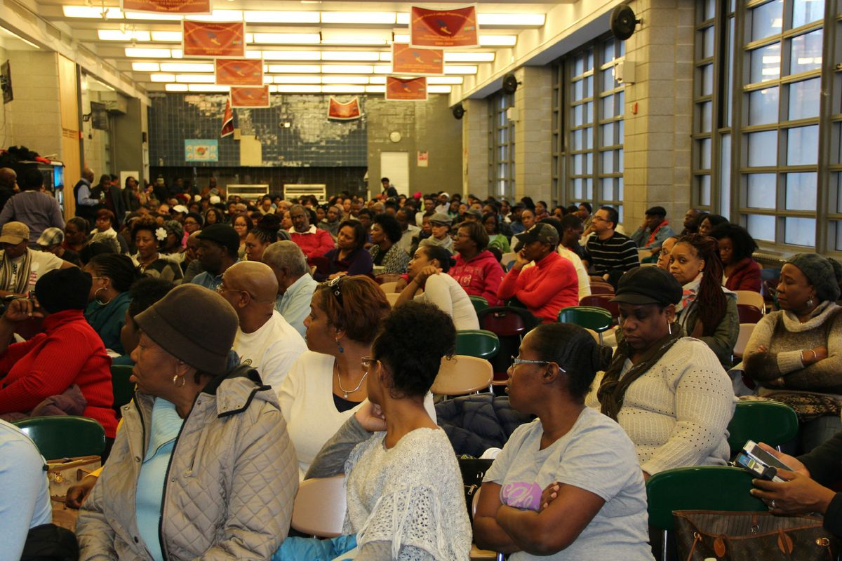 Parents packed into Medgar Evers' cafeteria Saturday to learn about a plan to relocate the school.