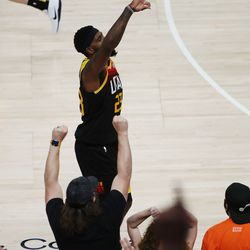Utah Jazz forward Royce O'Neale (23) hits a 3-pointer during the NBA playoffs in Salt Lake City on Thursday, June 10, 2021. The Jazz won 117-111.
