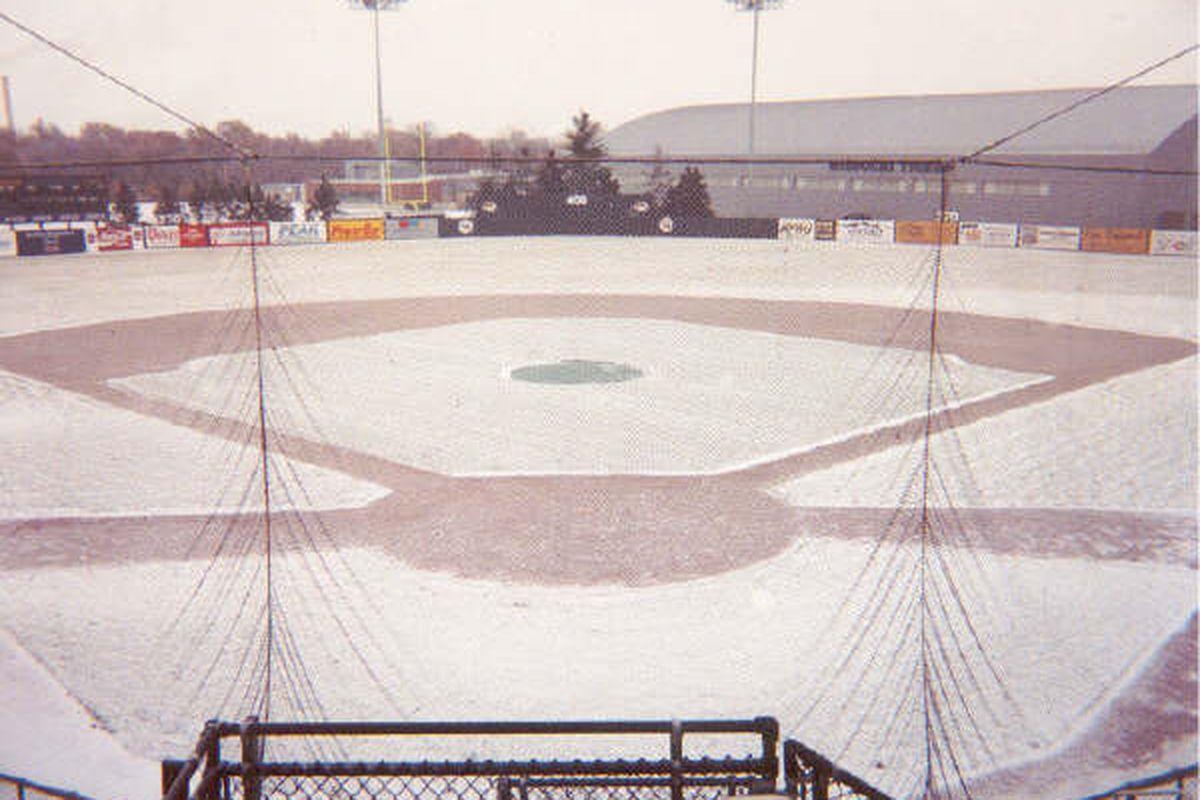 Simmons Field under snow