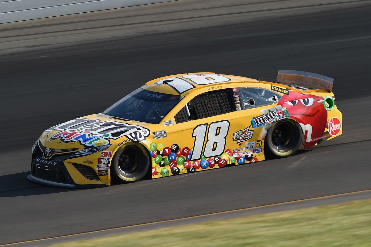Kyle Busch, driver of the M&M's Mini's Toyota, during the NASCAR Cup Series Pocono 350 at Pocono Raceway on June 28, 2020 in Long Pond, Pennsylvania.