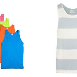 """The Expected: Frat-tastic Neon Tanks – The Update: <b>All Saints</b> Eltan Tank, <a href=""""http://www.us.allsaints.com/men/t-shirts/allsaints-eltan-tank/?colour=3260&category=13"""">$55.00</a>"""