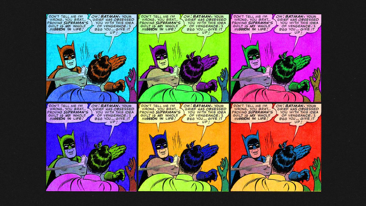 Six versions of the same comic art featuring Batman slapping Robin in various pop art colors