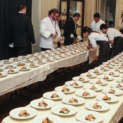 David Lefevre plating his dishes at the Charlie Trotter Tribute Dinner