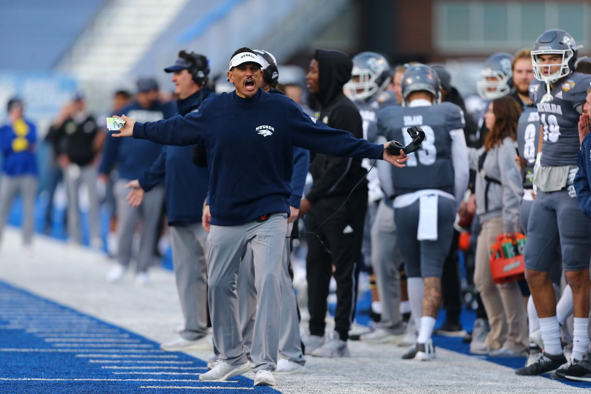 Nevada Wolf Pack head coach Jay Norvell reacts with an official during the second half of the Famous Idaho Potato Bowl against the Ohio Bobcats at Albertsons Stadium. Ohio won 30-21.