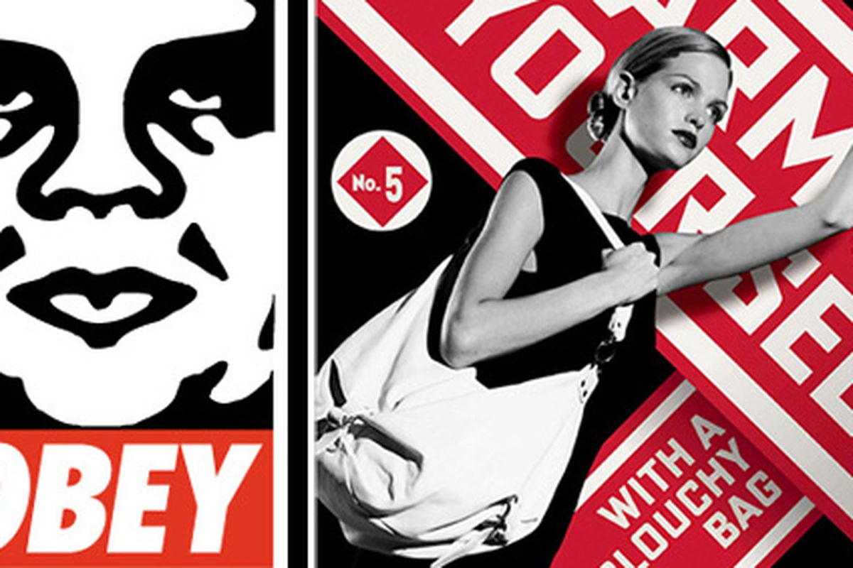 """Technically, Fifth Avenue is a street so we guess you can still call him a street artist. Image at left via <a href=""""http://obeygiant.com/store/product.php?productid=7&amp;cat=1&amp;page=1"""">Obey/Giant</a>; right via <a href=""""http://www.webvolution.i"""