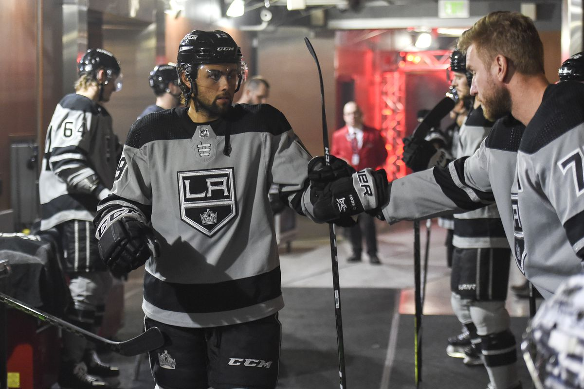 LOS ANGELES, CA - JANUARY 4: Alex Iafallo #19 of the Los Angeles Kings and Jeff Carter #77 high five prior to warm ups against the Nashville Predators at STAPLES Center on January 4, 2019 in Los Angeles, California.