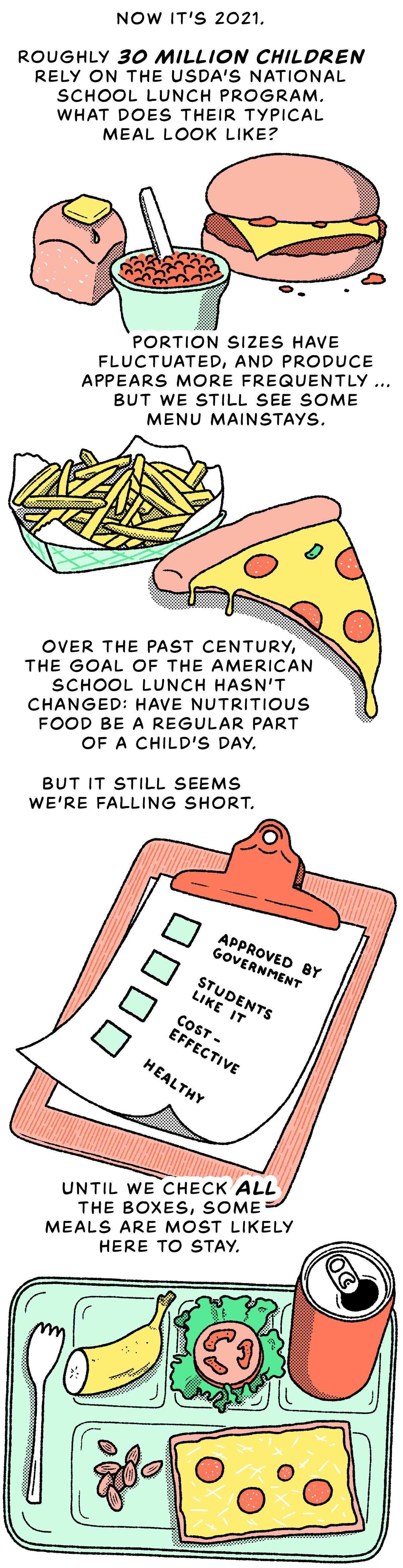 Nous sommes maintenant en 2021. Environ 30 millions d'enfants dépendent du programme national de repas scolaires de l'USDA.  À quoi ressemble leur déjeuner scolaire typique?  La taille des portions a fluctué et les produits apparaissent plus fréquemment… mais nous voyons toujours certains piliers du menu.  Au cours du siècle dernier, l'objectif du déjeuner scolaire américain n'a pas changé : faire en sorte que des aliments nutritifs fassent partie intégrante de la journée d'un enfant.  Mais il semble toujours que nous échouons.  Tant que nous n'aurons pas coché toutes les cases, certains repas resteront probablement là.