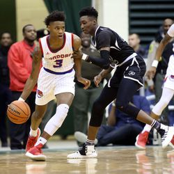 Curie's Dajuan Gordon (3) dribbles away from Orr's Tujautae Williams (22) in their CPS semi final game at Chicago State University, Friday, February 15, 2019. | Kevin Tanaka/For the Sun Times