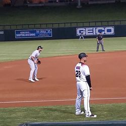 Sheldon Neuse plays third base in the seventh innning